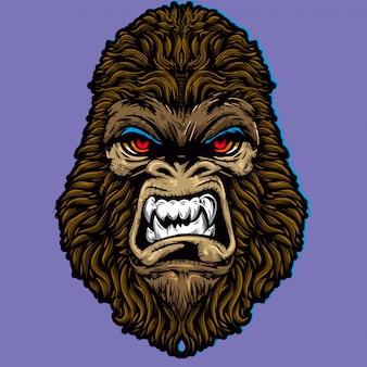 Affe gorilla wütendes gesicht