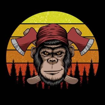 Affe holzfäller retro