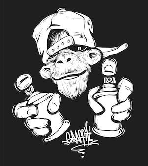 Affe in der kappe, die eine sprühfarbe hält, druckdesign für t-shirt