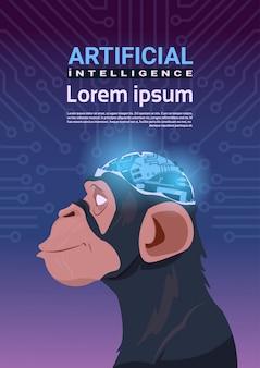 Affe-kopf mit modernem cyborg-gehirn über stromkreis-motherboard-hintergrund-vertikale-fahne