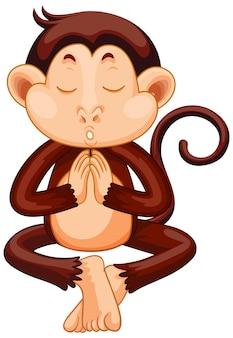 Affe macht yoga-cartoon-figur