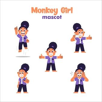 Affe-mädchen-maskottchen-cartoon-illustration. orang-utan-mädchen-maskottchen-cartoon-illustration