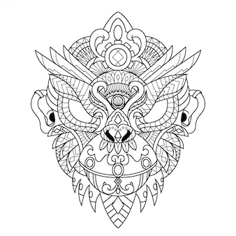 Affe mandala zentangle illustration im linearen stil
