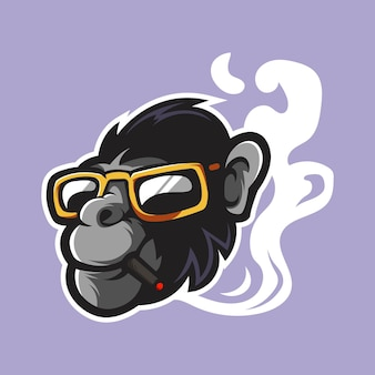 Affe mit brillenmaskottchenlogo