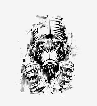 Affe mit mütze für t-shirt-druck, vektorillustration