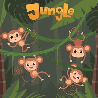 Affe spielt. kleine wilde tiere, die banane auf dschungelbaumschimpansenkarikaturhintergrund sitzen und essen