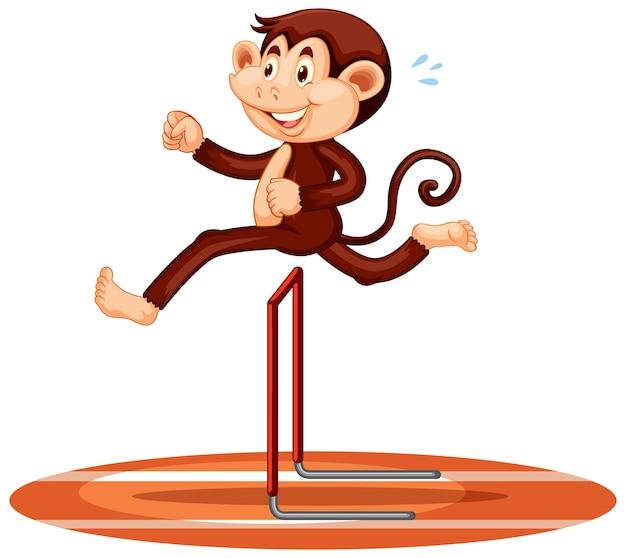 Affe springt über hürden-cartoon-figur