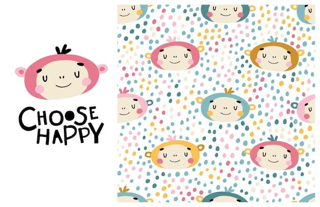 Affe. wähle glücklich. nettes gesicht eines tieres mit beschriftung und nahtlosem muster. kindlicher druck für kinderzimmer, karikaturillustration in den pastellfarben.