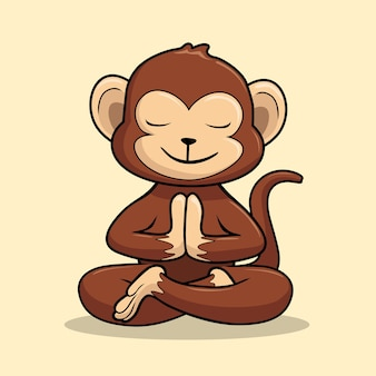 Affe yoga cartoon schimpanse glückverheißende pose swastikasana