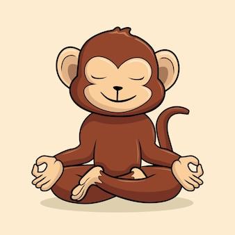 Affe yoga posea cartoona tier schimpanse