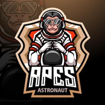 Affen esport logo maskottchen design