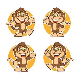 Affen maskottchen aufkleber charakter design
