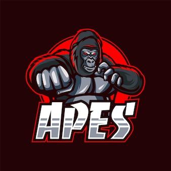 Affen-maskottchen-logo für esport und sport