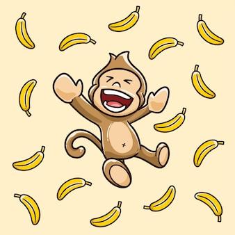 Affen sind glücklich, weil es bananen regnet