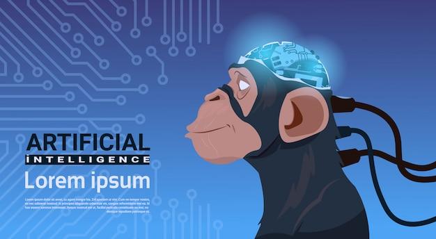 Affenkopf mit modernem cyborg-gehirn über stromkreis-motherboard-hintergrund-künstlicher intelligenz