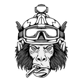 Affenkopf mit skihelm monochrom