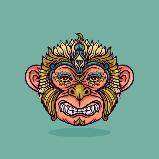 Affenkopfverzierungsillustration mit linien und farbenvektorillustration