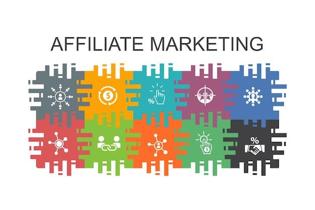 Affiliate-marketing-cartoon-vorlage mit flachen elementen. enthält symbole wie affiliate-link, provision, conversion, cost-per-click