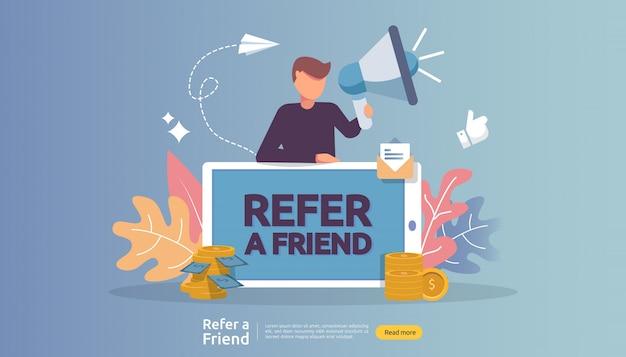 Affiliate-marketing. eine freundschaftsstrategie empfehlen. menschen charakter schreien megaphon teilen überweisung geschäftspartnerschaft und verdienen geld.