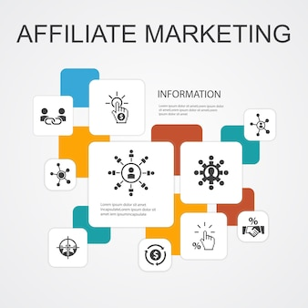 Affiliate-marketing-infografik 10-zeilen-icons-vorlage. affiliate-link, provision, conversion, cost-per-click einfache symbole