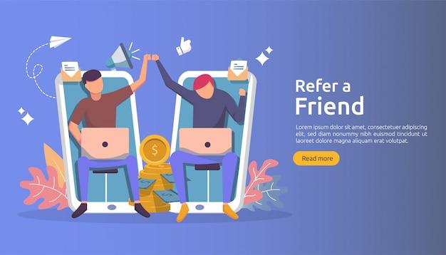 Affiliate-marketing-konzept. eine freundschaftsstrategie empfehlen. menschen charakter schreien megaphon teilen überweisung geschäftspartnerschaft und verdienen geld.