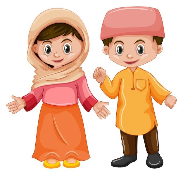 Afghanistan-junge und mädchen mit glücklichem gesicht