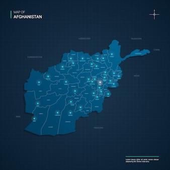 Afghanistan-kartenillustration mit blauen neonlichtpunkten - dreieck auf dunkelblauem farbverlauf. verwaltungsgliederung, städte, grenzen, hauptstadt.