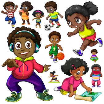 African american kinder machen verschiedene dinge