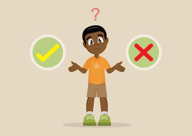 African boy's wahl zwischen richtig oder falsch