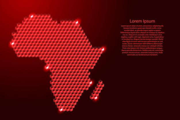 Afrika-festlandkarte von der isometrischen zusammenfassung der roten würfel 3d, quadratisches muster, eckige geometrische form, für fahne, plakat. illustration.