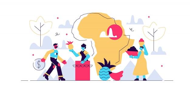 Afrika illustration. flaches winziges personenkonzept mit klassischer kontinentlandschaft. ethnische kulturtraditionen mit touristen. urlaubs-, urlaubs- und abenteuerziel. obstkörbe auf dem kopf.