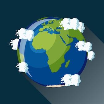 Afrika-karte auf planet erde, ansicht vom platz. afrika globus symbol.