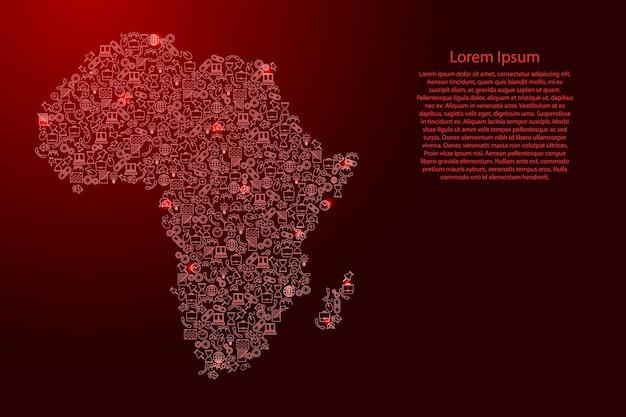 Afrika-karte aus roten und leuchtenden sternensymbolen mustersatz seo-analysekonzept oder entwicklung, geschäft. vektor-illustration.
