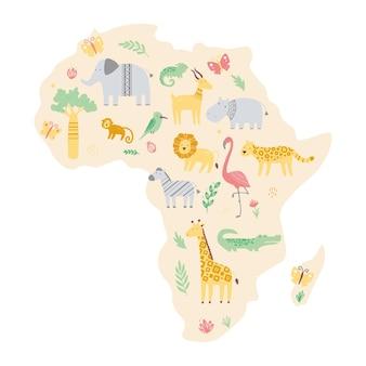 Afrika-karte mit niedlichen afrikanischen zootieren