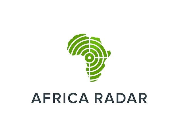 Afrika-karte und radar einfaches schlankes kreatives geometrisches modernes logo-design