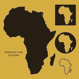 Afrika-karte vorlage zum laserschneiden, holzschnitzen, scherenschnitt. silhouetten zum schneiden. afrika karte vektorschablone.
