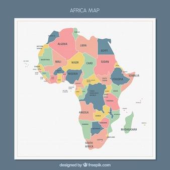 Afrika-Kartenhintergrund in der flachen Art