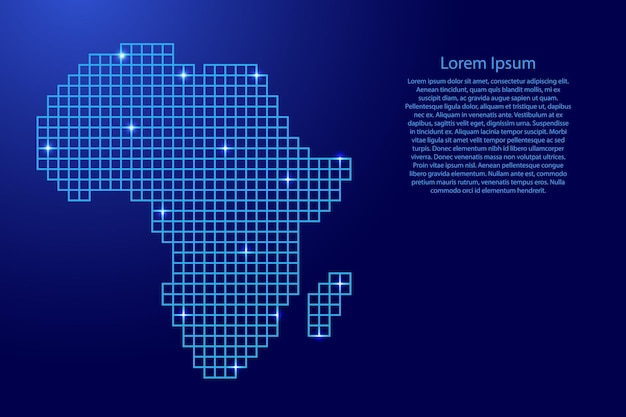 Afrika-kartensilhouette aus blauen mosaikstrukturquadraten und leuchtenden sternen. vektor-illustration.