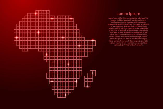 Afrika-kartensilhouette aus roten mosaikstrukturquadraten und leuchtenden sternen. vektor-illustration.