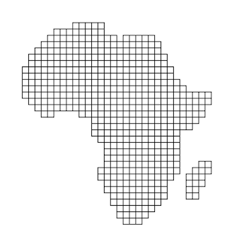 Afrika-kartensilhouette aus schwarzer mustermosaikstruktur von quadraten. vektor-illustration.