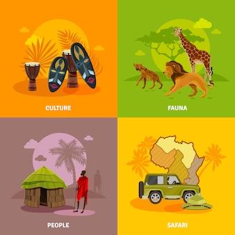 Afrika-konzept-ikonen eingestellt