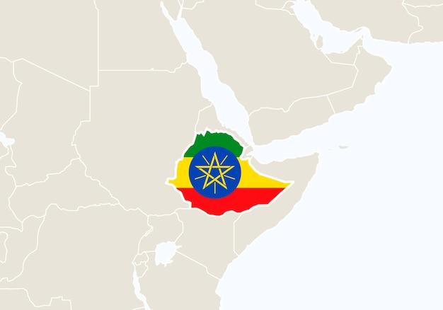 Afrika mit hervorgehobener äthiopien-karte. vektor-illustration.
