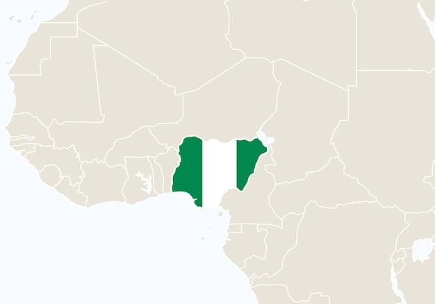 Afrika mit hervorgehobener nigeria-karte. vektor-illustration.