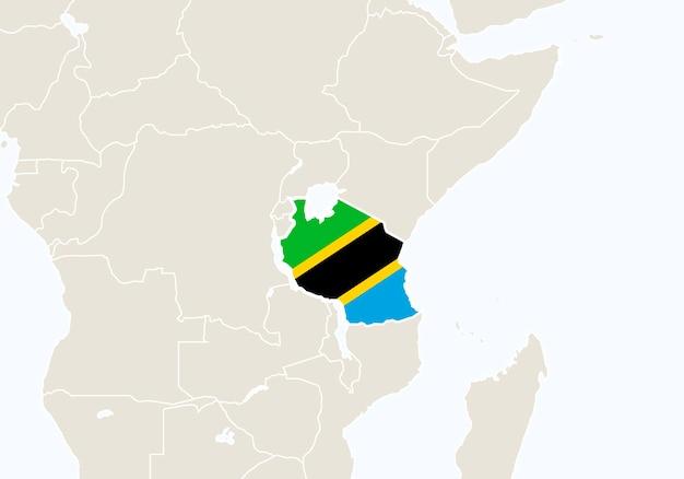 Afrika mit hervorgehobener tansania-karte. vektor-illustration.