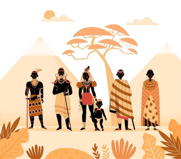 Afrika-zusammensetzung mit silhouette der landschaft mit bergen exotischen pflanzen und charakteren der alten afrikanischen volkillustration