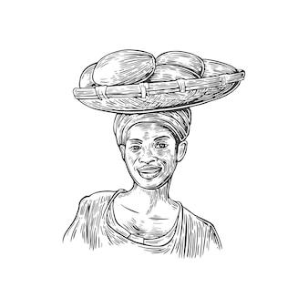 Afrikanerin trägt einen korb mit baobabfrüchten auf ihrer hauptstichillustration