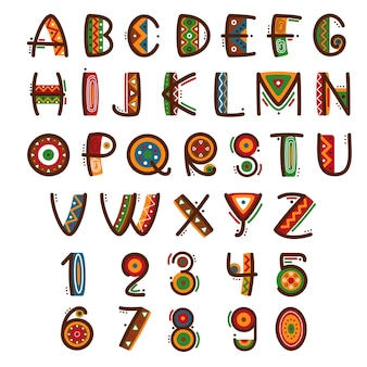 Afrikanische ethnische primitive schrift. hand gezeichnetes helles safari-alphabet.