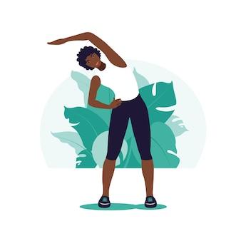 Afrikanische frau, die im park trainiert. outdoor-sportarten. gesunder lebensstil und fitnesskonzept. vektorillustration im flachen stil.