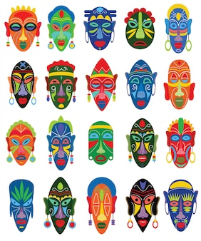 Afrikanische gesichtsmaske des stammesmaskenvektors und maskierende ethnische kultur in afrika-illustrationssatz des traditionellen maskierten symbols lokalisiert auf weiß