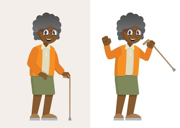 Afrikanische großmutter auf spaziergang ältere frau mit gehstock